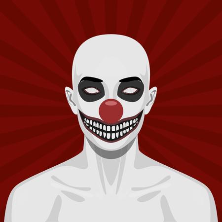 caras: Payaso asustadizo calva con la sonrisa de la cara. Ilustración de Halloween