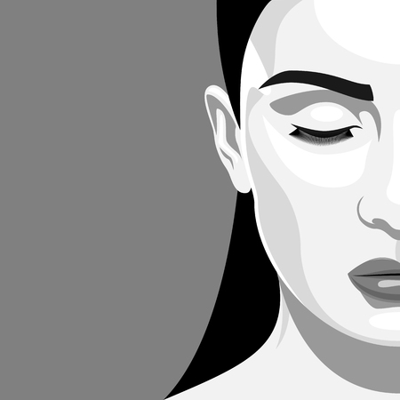 closed eyes: Half Face black and white Portrait of Beautiful Woman with closed eyes. Vintage illustrarion of Vampire Lady