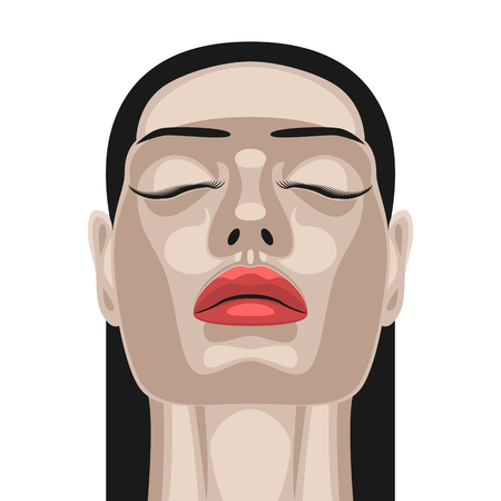 closed mouth: Fashion Beauty Woman with Healthy white Skin, closed Eyes and Red Lips. Makeup Illustration Stock Photo