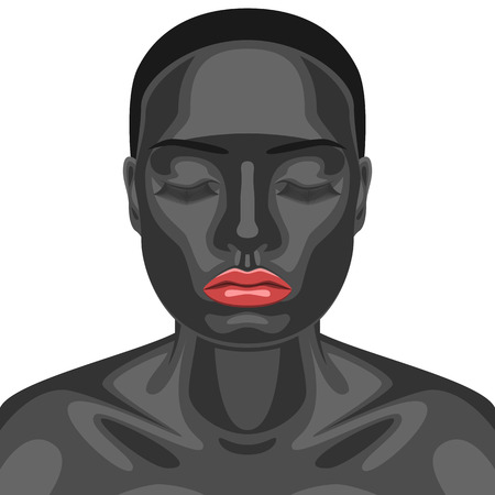 closed mouth: Fashion Beautiful Female Model with red Lips and closed Eyes. Artistic Makeup Face. Black Skin of young Woman Stock Photo