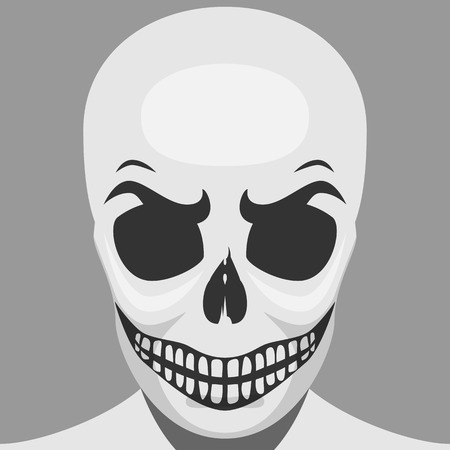 teeths: Scary Skeleton Monster for Halloween Makeup. Smiling Spooky Skull with Teeths Stock Photo