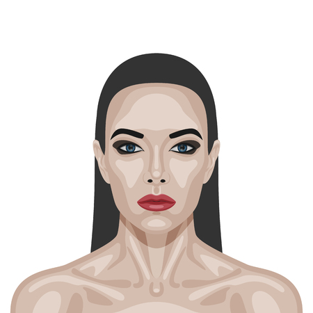 perfect skin: Fashion beauty brunette Woman with perfect healthy Skin, red Lips and Long Hair. Vector Illustration Illustration