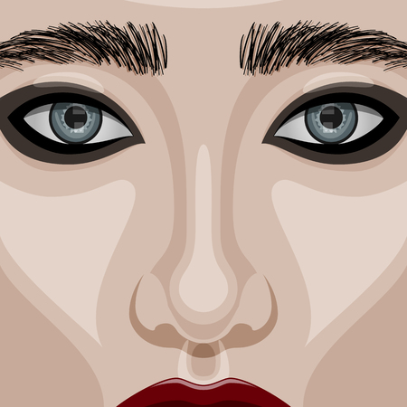 perfect skin: Beauty Woman Face with big blue Eyes, red glossy Lips and smoky Eyes Makeup. Vector Illustration