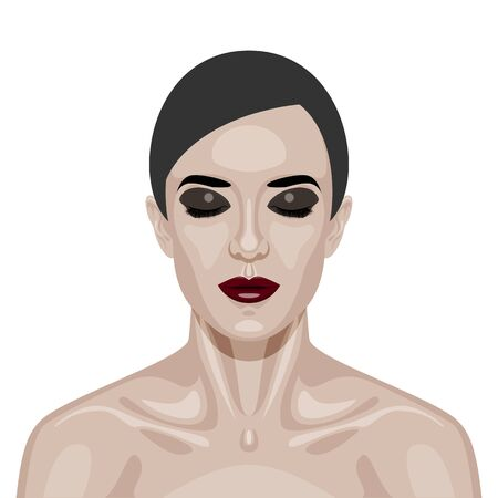 fashion portrait: Beauty Woman Face with smoky Eyes and dark red Lips. Vector Illustration
