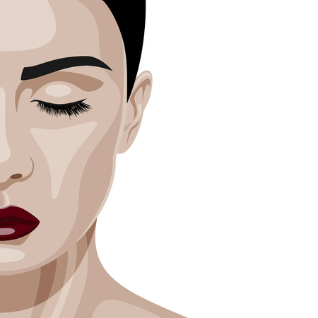 beautiful face: Half Face of beauty Woman with closed Eyes and dark red Lips. Female Model vector Illustration