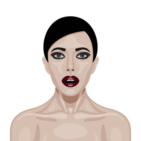 woman mouth open: Surprised Woman Face with big Eyes and open Mouth .  Surprise Expression of vector character