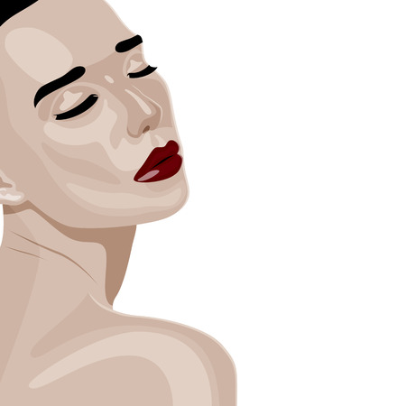 over the shoulder: Beauty young Woman with dark red Lips and closed Eyes turned over her shoulder. Colorful vector fashion Illustration of People Illustration