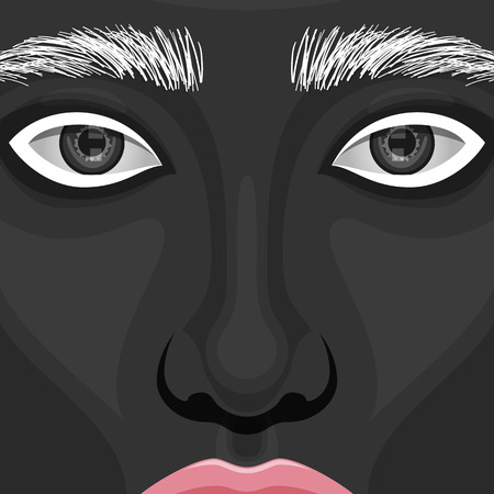 eyebrows: Closeup vector beauty Woman Face with creative Makeup. Black Paint on Skin, pink glossy Lips and white Eyebrows
