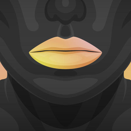 perfect skin: Beauty Woman Face with perfect black Skin and orange shiny Lips Illustration