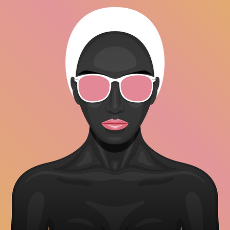 perfect skin: Vector beauty Woman with black paint Skin, white short Hair, pink lips and Glasses on her Face. Fashion art Illustration.
