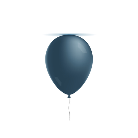 helium: Realistic helium blue Balloon with Lights and Shadows. Vector design Element