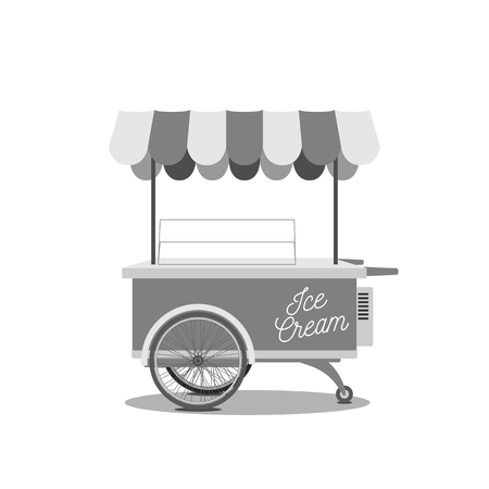 Vintage Ice-Cream Cart. Black and white vector Illustration of dessert Shop on Wheels.