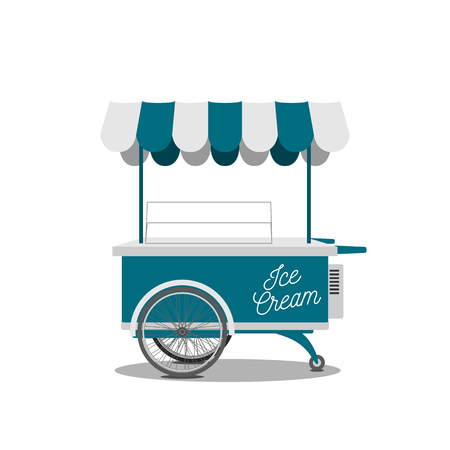 Retro Ice-Cream blue Cart. Vector Sweet Shop on Wheels, ready to your Design