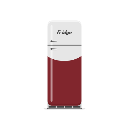 frig: Isolated white and red vintage Fridge. Retro vector Kitchen Object