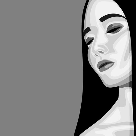 perfect skin: Retro fashion beauty Portrait of Woman with with closed Eyes, long Hair and perfect Skin. Vector Makeup Illustration Illustration