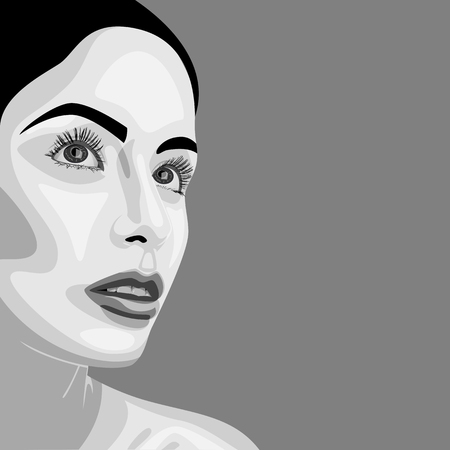 closed mouth: Monochrome beauty vector Woman with open Eyes and perfect Skin. Makeup Illustration Illustration