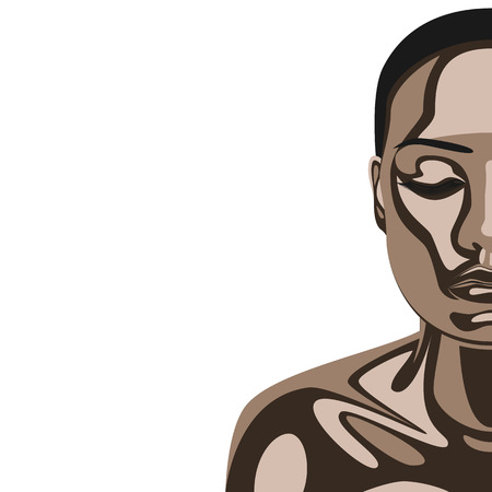 african american spa: African fashion beauty Woman with Chocolate Mask on her Face and Skin. Vector Illustration of Makeup and Bodycare
