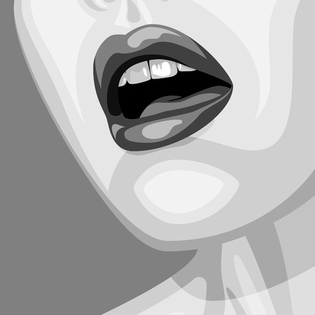 perfect skin: Old-fashioned beauty Woman vector Face with open Mouth and perfect Skin. Makeup Illustration