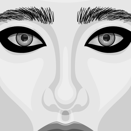 sch�ne augen: Retro beauty Woman vector Portrait with Beautiful Eyes. Makeup Illustration