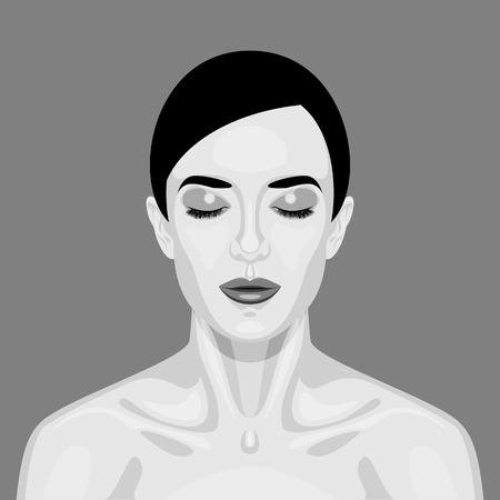 closed mouth: Black and white sleeping Vampire Woman. Halloween Vector Portrait for Your Design Illustration
