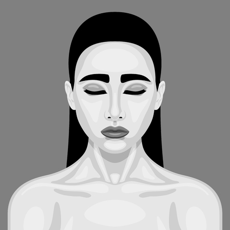 closed mouth: Retro sleeping Vampire Woman. Halloween Vector black and white Portrait for Your Design