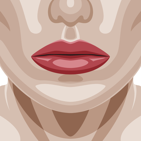 perfect skin: Beauty Woman Face with perfect healthy Skin and red shiny Lips