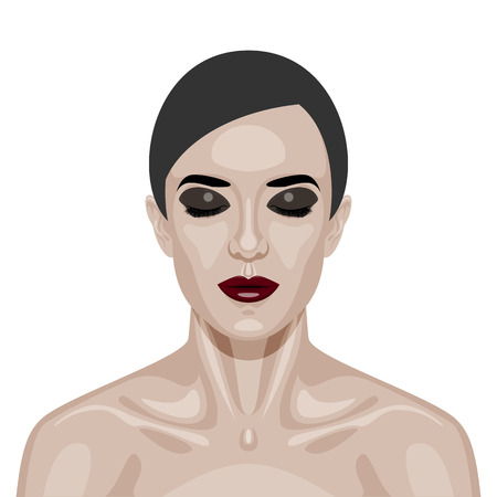 perfect skin: Beauty Woman Face with smoky Eyes and dark red Lips. Illustration