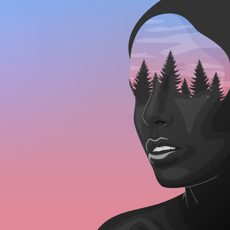 fashion portrait: Beauty Woman with double Exposure Face. Black Skin and Forest. Fashion art Illustration.