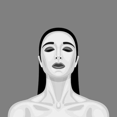 perfect skin: Gothic beauty Woman with closed Eyes, long Hair and perfect Skin. Makeup Illustration