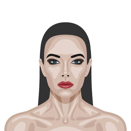 perfect skin: Fashion beauty brunette Woman with perfect healthy Skin, red Lips and Long Hair. Illustration