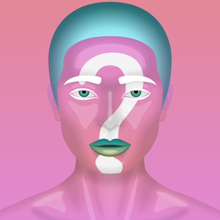 perfect skin: Realistic fashion beauty Woman with pink glossy Skin and Question Mark on her Face. Illustration of Alien Makeup for a Halloween or Cosmetics Stock Photo