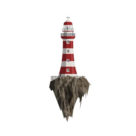 searchlight: Cartoon red striped Lighthouse on flying Island. Searchlight Tower and Rocks isolated on white Background