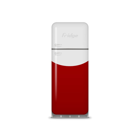 icebox: Realistic vintage red and white vector Fridge with closed Door and Handles. Retro metal Refrigerator with Shadows and Reflections. Classic Icebox for Food