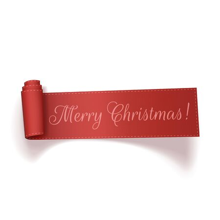 curved ribbon: Red realistic textile curved Ribbon with Merry Christmas Text isolated on white background. Vector Illustration