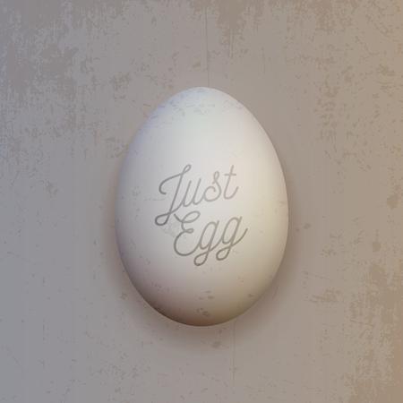 huevo blanco: Huevo de pollo blanco realista. Vector Alimentación Objeto