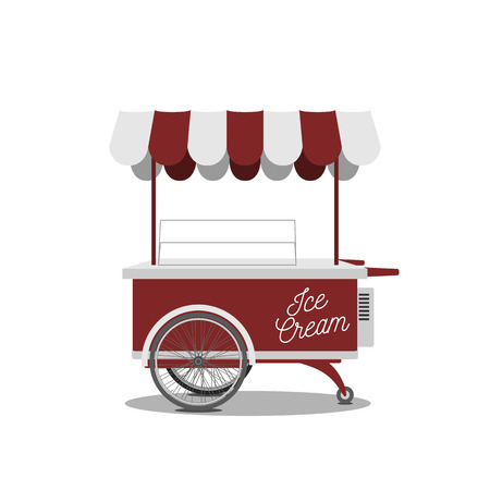 sweet shop: Retro Ice-Cream red Cart. Vector Sweet Shop on Wheels, ready to your Design