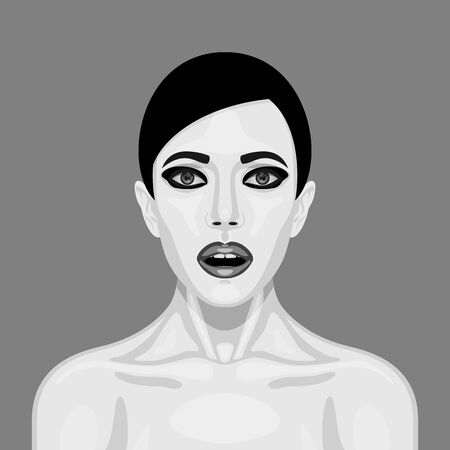 woman open mouth: Surprised retro Woman with big Eyes and open Mouth. Surprise Expression of Character