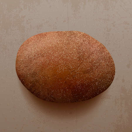 processed grains: Realistic fresh Bread with Flour on the Table Stock Photo