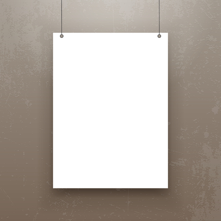 blank poster: Realistic hanging Paper Sheet Mockup. Editable Poster Template for Your Art, Banner, Gallery or other Content.