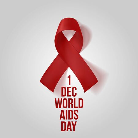 Realistic red Ribbon. 1 december, World Awareness AIDS Symbol isolated on white Background Illustration