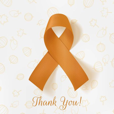 curved ribbon: Thanksgiving greeting paper Card Template with Pattern, Thank You Text and realistic orange curved Ribbon. Holiday vector Illustration