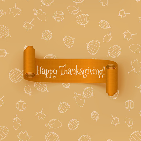 Realistic curved orange Thanksgiving Ribbon. Holiday vector Design of greeting Card Illustration