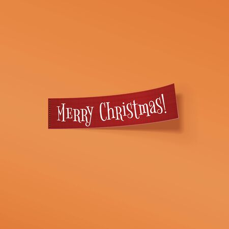 curved ribbon: Red realistic textile curved Ribbon with Merry Christmas Text isolated on orange background. Vector Illustration