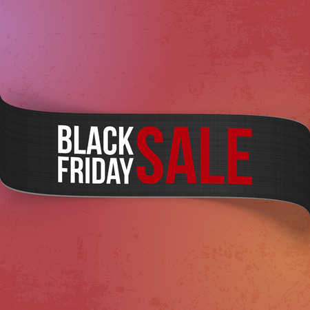 curved ribbon: Black Friday Sale promo curved Ribbon for Your Design. Big realistic vector Label with Shadows on colorful Background