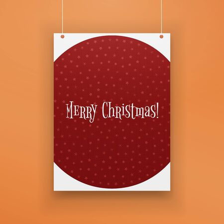 white poster: Chistmas paper red Page with Snowflakes hanging against orange Background. Realistic vector Holiday Poster Mockup