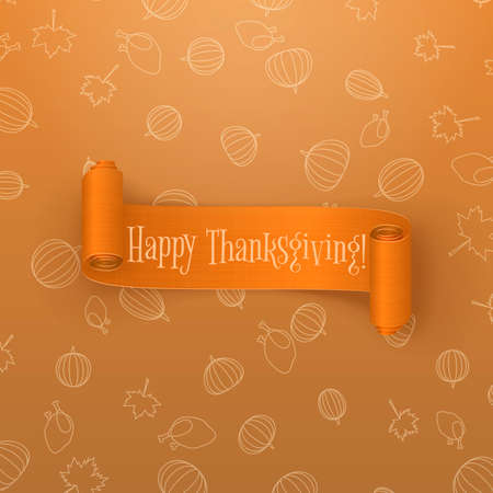 thanksgiving card: Realistic scroll orange Thanksgiving Banner. Curved Ribbon with Shadows. Holiday vector Design of greeting Card Illustration