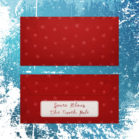 klaus: Realistic Christmas Letter with Snowflakes to Santa Klaus. Red old Envelope on winter Background. Vector Holiday Illustration