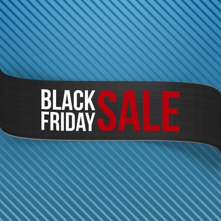 bend: Black Friday Sale Ribbon on blue striped Background. Realistic vector black bend Banner Illustration