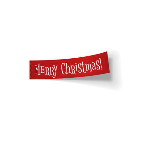 bend: Red realistic textile bend Ribbon with Merry Christmas Text isolated on white background. Illustration