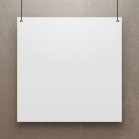 blank page: Realistic hanging Paper Sheet square Mockup. Editable Poster Template for Your Art, Banner, Gallery or other Content. Stock Photo